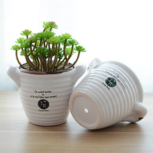 Garden breathable succulents flowerpot white ceramic pot garden pots bonsai pot zakka home decor garden decoration