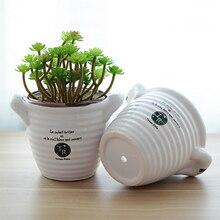 Garden breathable succulents flowerpot white ceramic pot garden pots bonsai pot zakka home decor garden decoration