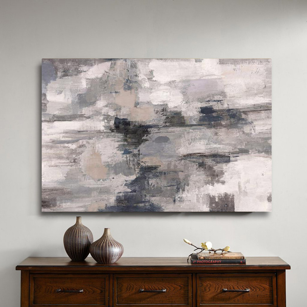 Handmade Gray Abstract oil Painting on Canvas Professional