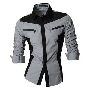 Image 3 - Jeansian chemises pour hommes, caractéristiques, printemps automne, décontracté chemise à manches longues, Slim Fit, fermeture éclair, décoration (sans poches) Z018
