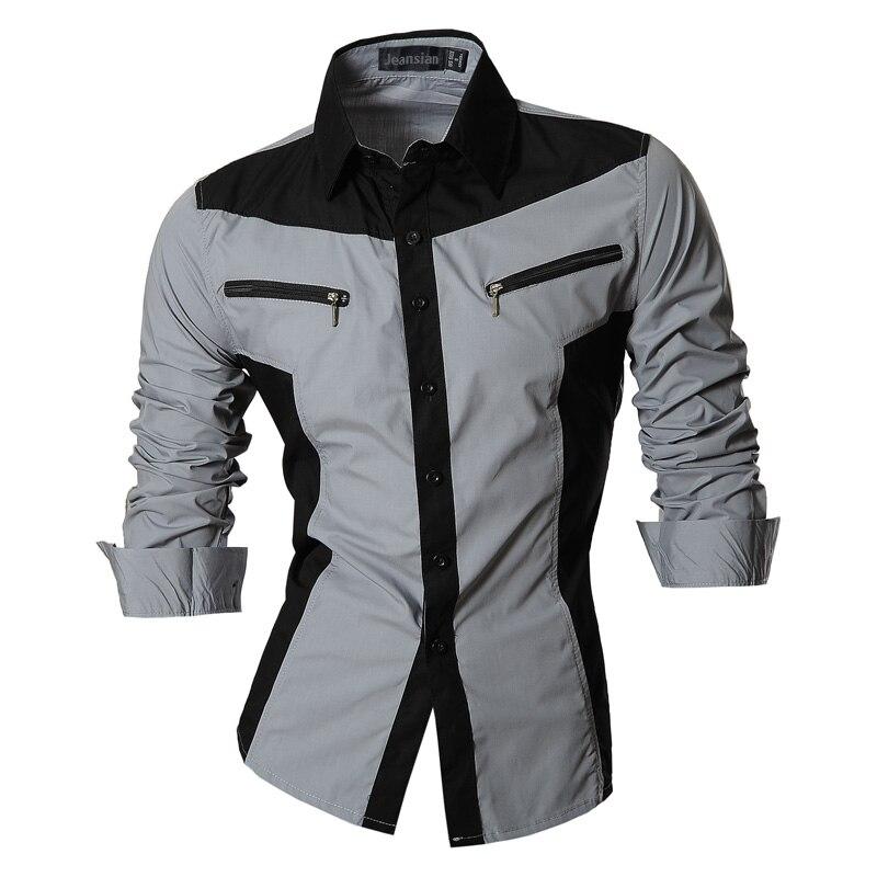 Image 3 - jeansian Spring Autumn Features Shirts Men Casual Shirt Long  Sleeve Slim Fit Male Shirts Zipper Decoration (No Pockets) Z018male  shirtshirt men casualshirt men