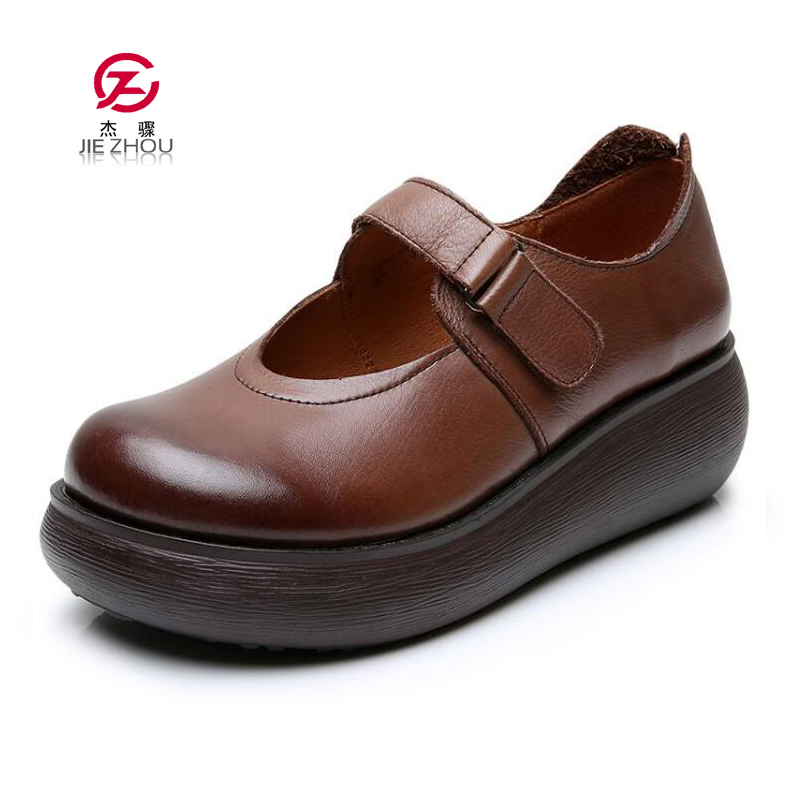 Summer Fashion Women Flat Platform Shoes Woman Breathable Genuine Leather Casual Shoes Moccasin Zapatos Mujer Ladies