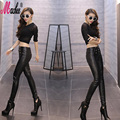 2017 High Quality PU Leather Pants Women Winter Trousers Female High Waist Elastic Skinny Fleece Stretch Slim Women Pencil Pants