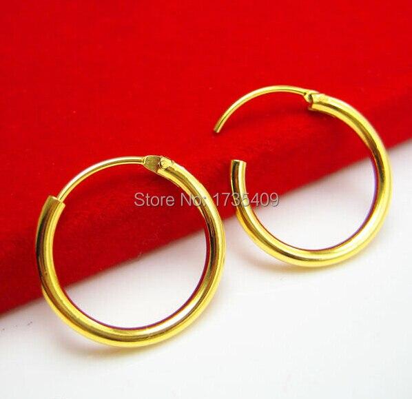 Solid 999 24k Yellow Gold Earrings /Women's Little Circle Hoop Earrings / 1.42g fish hoop earrings
