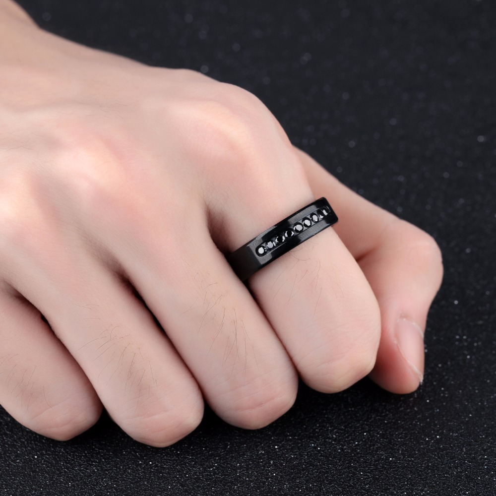 JHSL Brand 6mm Boys Male Men Rings Black Stainless Steel Crystal CZ ...