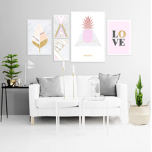 Abstract Geometric Canvas Painting Pink Yellow Princess Wall Art Picture Nordic Posters Prints for Kids Girls Room Home Decor