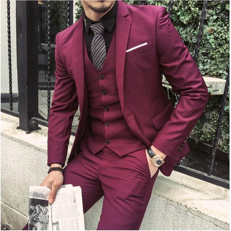 2018 Tailored Burgundy Purple Suit Men Groom Slim Fit 3 Piece Tuxedo Prom Wedding Suits Blazer Terno Masuclino Jacket+Pant+Vest
