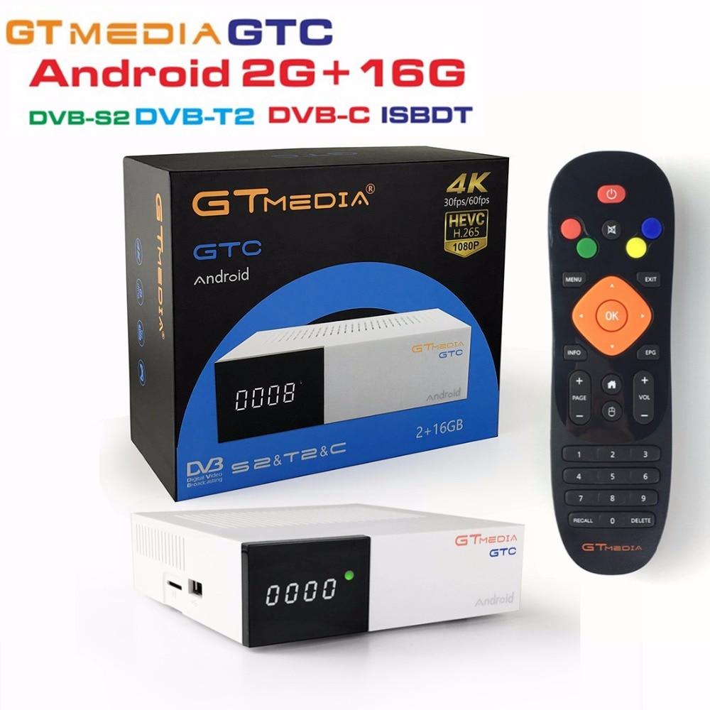 [Genuine] Freesat GTMedia GTC Satellite Receiver DVB-S2/C/T2 ISDB-T Amlogic S905D android 6.0 TV BOX 2GB RAM 16GB ROM BT4.0 5pcs free sat ota freesat gtc s905d android 6 0 tv box dvb s2 t2 cable isdb t digital satellite receiver combo