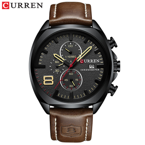 Image 2 - CURREN Chronograph Fashion Mens Watches Luxury Leather Business Quartz Watch Men Military Sport Wrist Watch Relogio Masculino