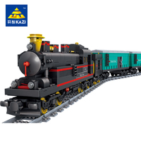 KAZI Classical Chinese Yuejin Train Model With Track Building Blocks Children Educational Toys Compatible With Lego
