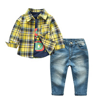 2019 Spring Boys Clothing Sets Kids Long Sleeve Cotton Plaid Shirt with Jeans 2-Pieces Suits Children Gentleman Clothes fashion new kids clothes sets spring autumn baby boys plaid t shirt jeans long sleeve leisure set cotton children clothing page 5