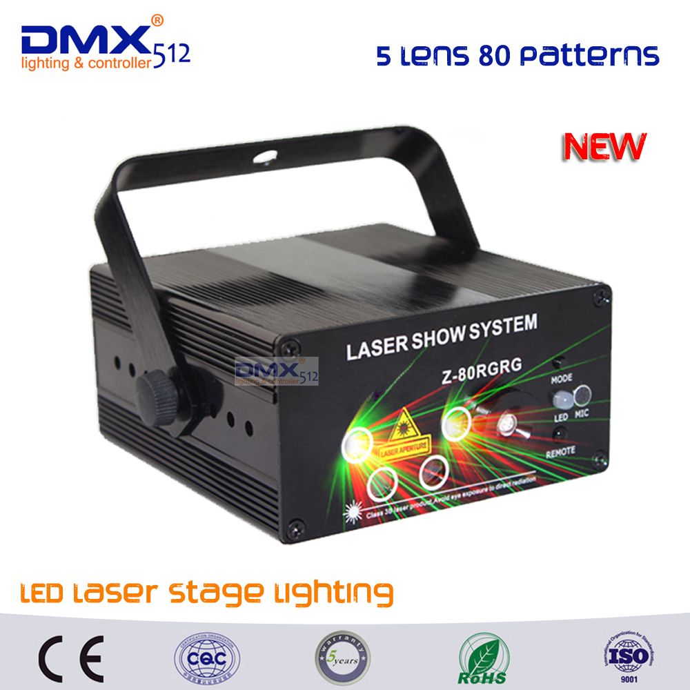 DHL Free shipping LED Laser Stage Lighting 5 Lens 80 Patterns RG Mini Led Laser Projector 3W Blue Light Effect Show For DJ Disco professional 3 lens 36 patterns stage lights rg blue led stage laser lighting dj party disco light effect projector lighting