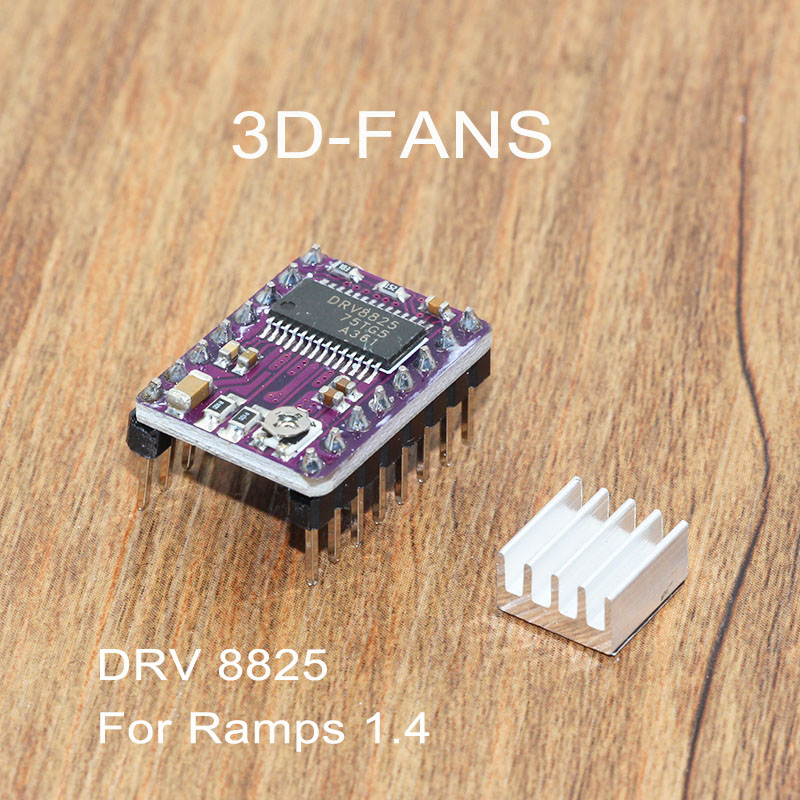 1Pc StepStick DRV8825 Stepper Motor Driver With Heat Sink For Ramps 1.4 Reprap 4 PCB Module For 3D Printer