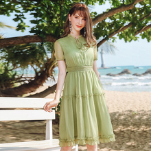 Wasteheart Summer Green Women A-Line Dress Casual V Neck Mesh Long Dresses Club Holiday Party Sexy Sweet Plus Size Lanon