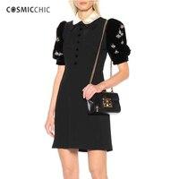 Cosmicchic Women Fashion Runway Black Dress Peter Pan Collar Puff Diamond Sleeve Dress 2018 Fall Winter A Line Chic Party Dress