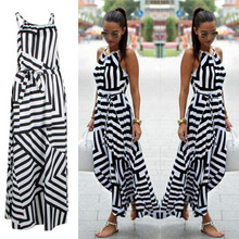 Summer Maxi Long Dress New Fashion Women Sexy Boho Striped Sleeveless Beach Styl