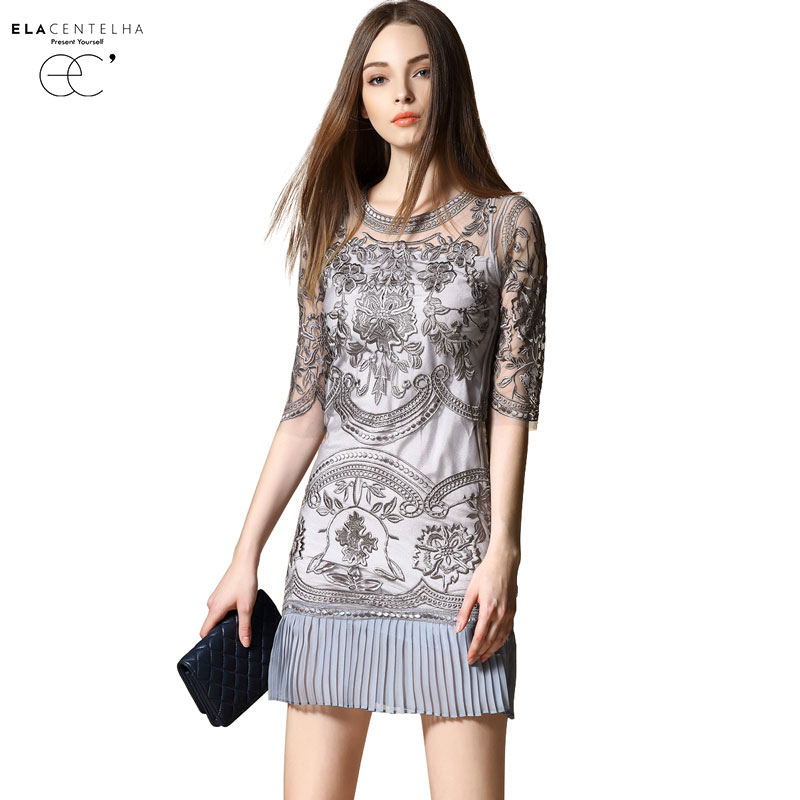 Buy Cheap ElaCentelha Brand Dress Summer Women High Quality Embroidery Chiffon Patchwork Hollow Out Dress Mini Slim Women's Office Dresses