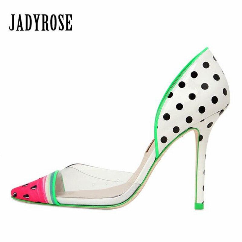 Jady Rose Watermelon Print Women Pumps Pointed Toe High Heels Wedding Dress Shoes Woman Sexy Stiletto