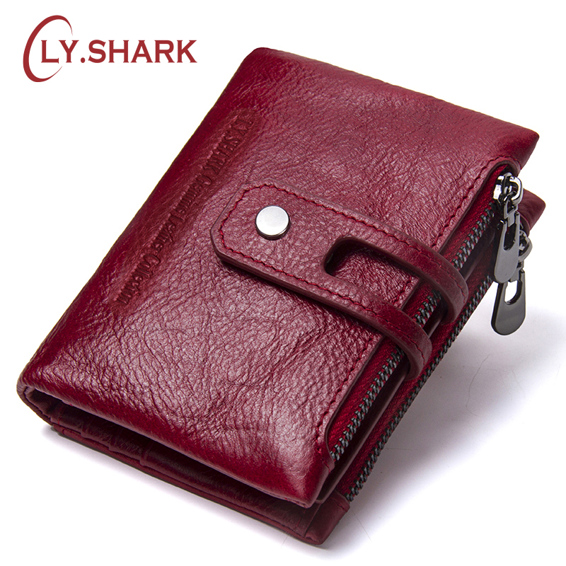LY.SHARK genuine leather women wallet female purse lady wallet Red clutch id credit card holder coin purse money bag small walet