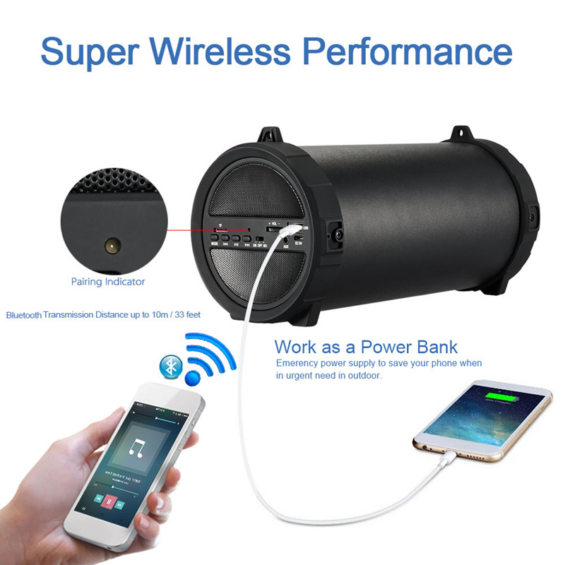 Portable Multifunction Wireless Bluetooth Speaker 10W Big Power HiFi Subwoofer USB Stereo Multimedia For Mobile Phone Player big power 20w portable bluetooth speaker wireless stereo loudspeaker super bass hifi altavoces para pc for xiao mi5 for notebook