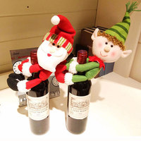 Creative Cute Christmas Red Wine Bottle Cover Set Gift Holder Dolls Santa Claus Snowman Dinner Table Decoration Props Supplies