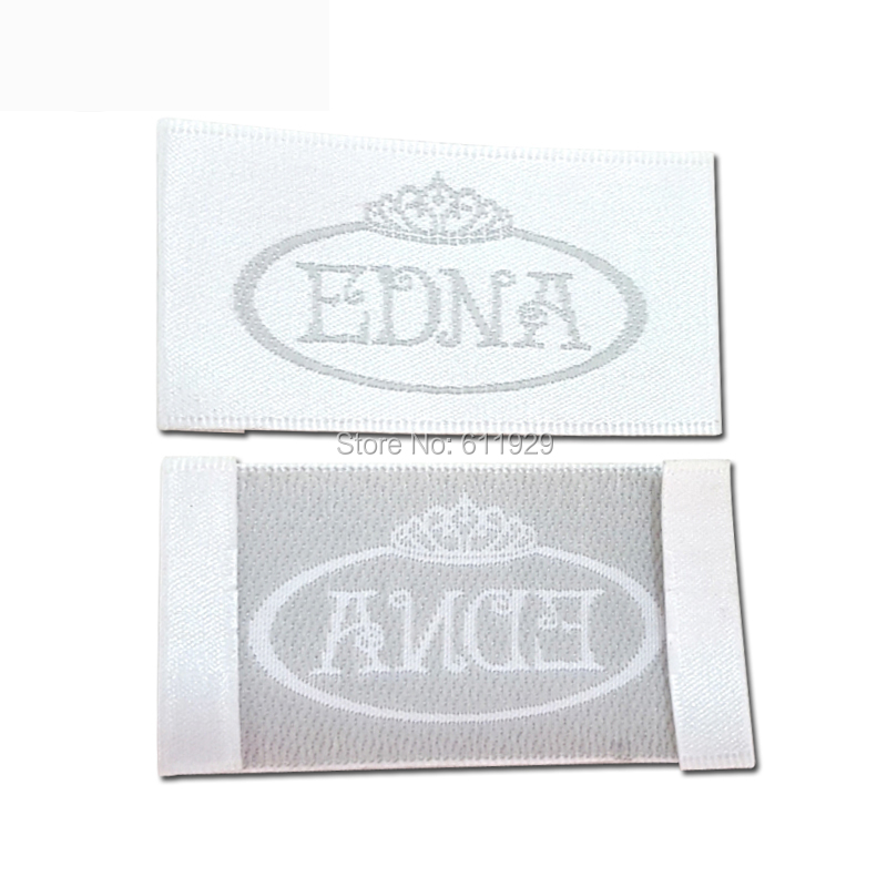 custom clothing white satin woven labels/garment embroidered labels/logo/wedding dress labels/overcoat tgs brand 1000 pcs a lot