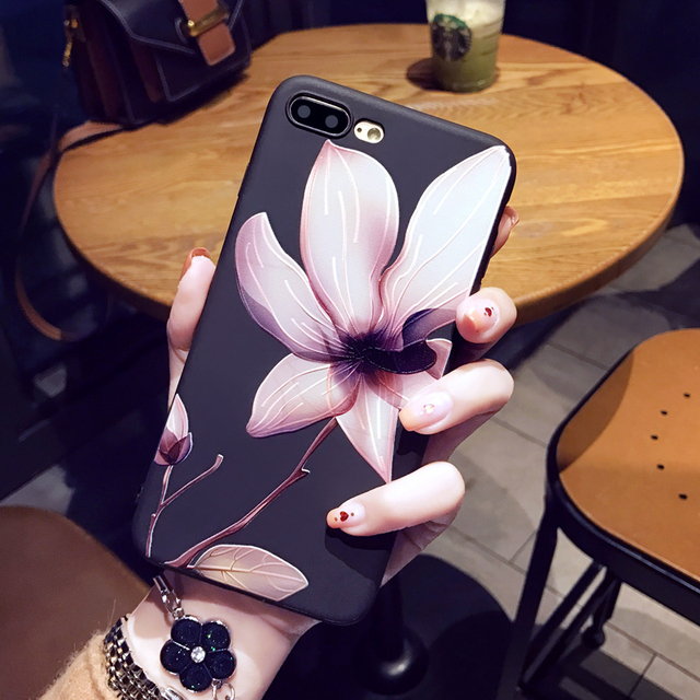 iPhone Silicone Fashion Flower Phone Case for iPhone Women Soft Protection Cover