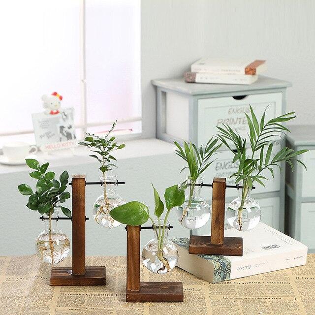 Vintage Pot De Fleurs Transparent Vase Cadre En Bois Table En Verre Plantes Décoration