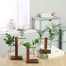Гидропонные вазы для растений винтажный цветочный горшок прозрачная ваза деревянная рамка стеклянная столешница растения домашний бонсай Декор Прямая доставка