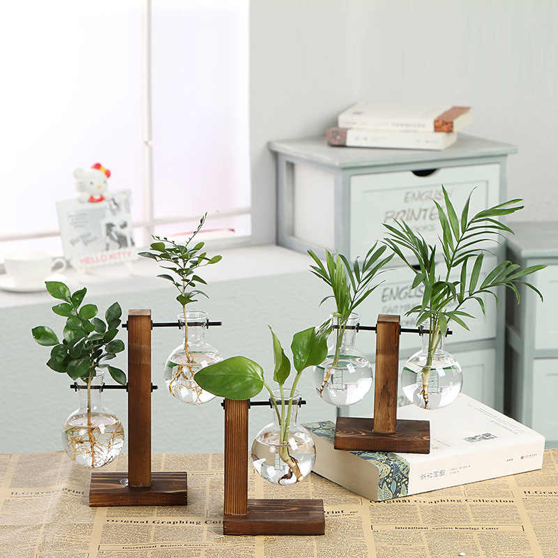 Hydroponic Plant Vases Vintage Flower Pot Transparent Vase Wooden Frame Glass Tabletop Plants Home Bonsai Decor Drop Shipping