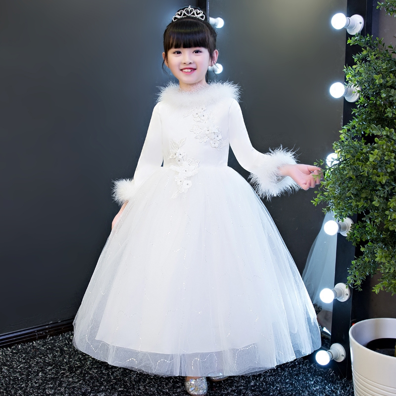 2017 New Winter Thick Warm Elegant Fashion White Color Children Girls Princess Lace Dress Long Sleeves Embroidery Flowers Dress pink lace up design cold shoulder long sleeves hoodie dress