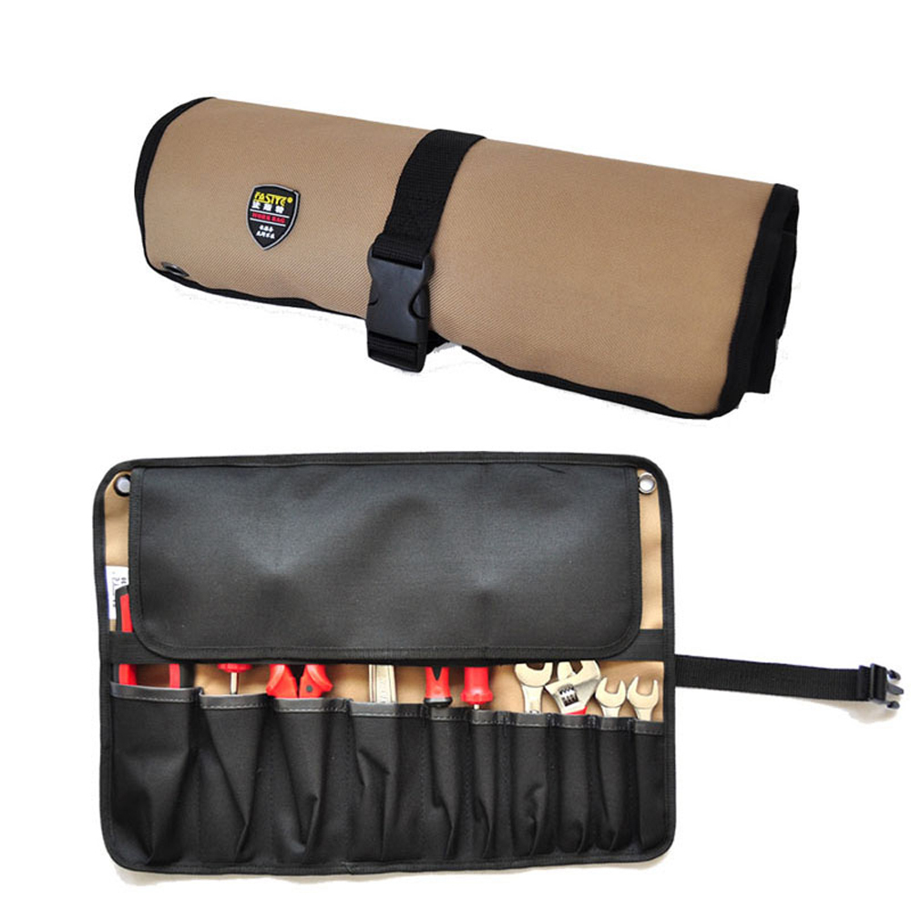 FASTE Reel Rolling Tool Bag Tool Pouch 10 Pockets Handy Organizer