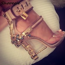 SHOOEGLE Real Pic PVC Riri Sexy Crystal Embellished Sandal Boots Padlock  Spiked High Heels Colorful Beaded Celebrity Party Shoes 0f7f7a39b63c