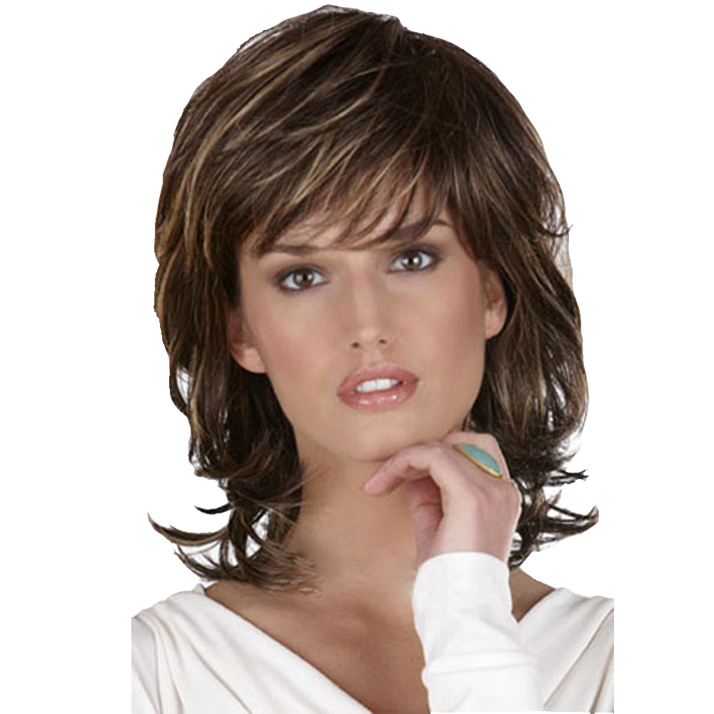 Short Wig Soft Tousled Curls Brown Highlights Full Synthetic Wigs in Women 39 s Sets from Women 39 s Clothing