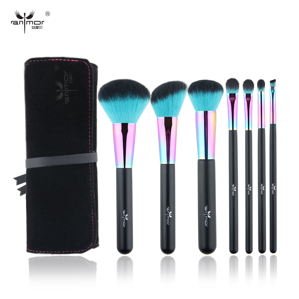 Anmor Rainbow Make-up Pinsel Set Professionelle Pincel Maquiagem inklusive Puderkontur Augen Make-up Pinsel mit Tasche