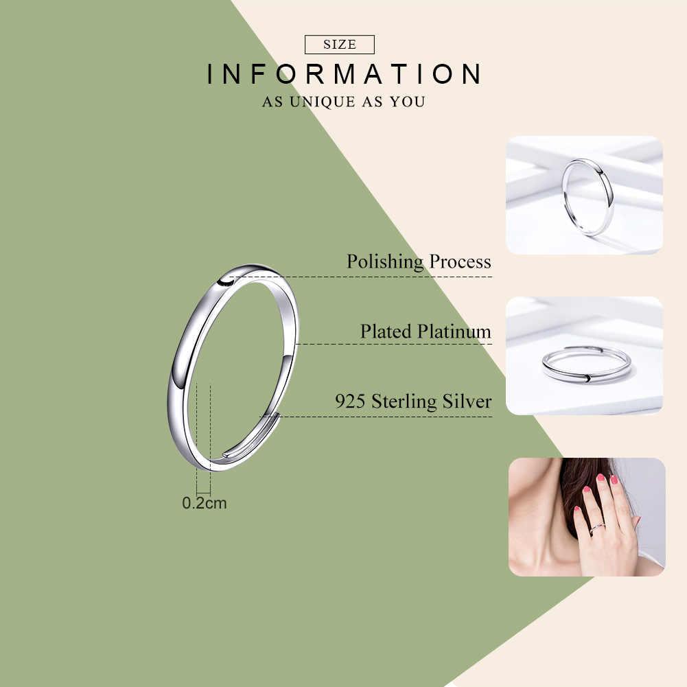WOSTU פשוט עיצוב טבעת 100% 925 סטרלינג כסף מתכוונן גודל טבעות לנשים חתונה מינימליסטי סגנון תכשיטי FIR508