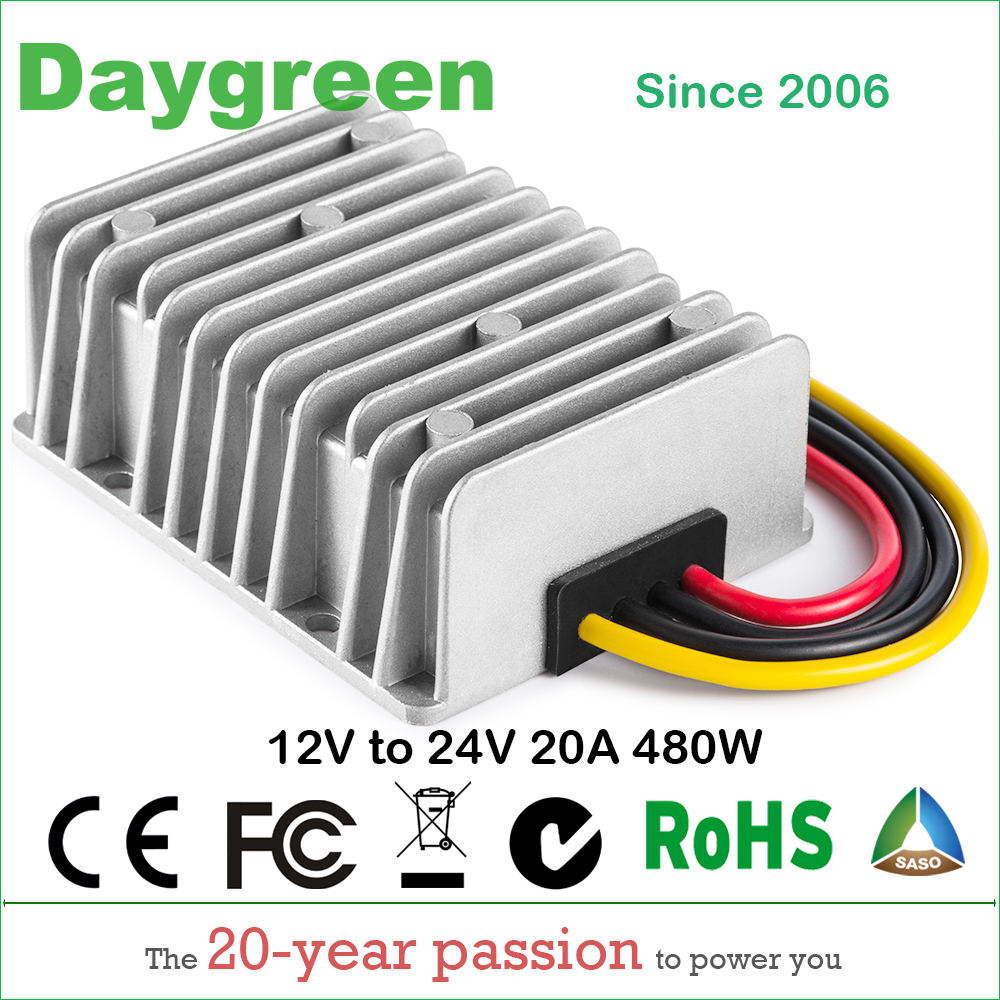 12V TO 24V 20A STEP UP BOOST DC DC REGULATOR 20 AMP 500WATT Daygreen Quality Product 12VDC TO 24VDC 20AMP