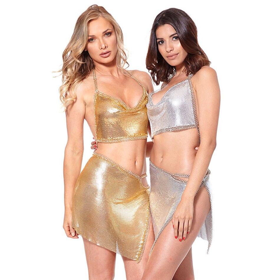 Glomesh Deux Latérale Gold Nu Ensemble En Pièces Mode rose silver Gold Métal Chaîne Robe Dos Halter Fente Sexy BvRwq0a
