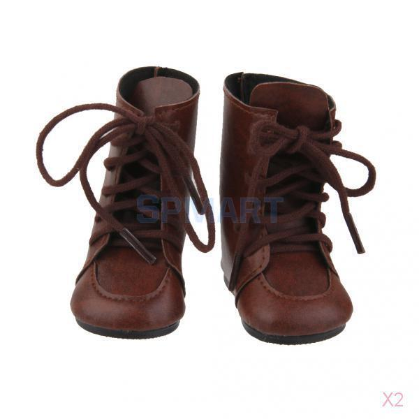2x New Design Doll Lace Up Boots Shoes for 18 American Girl Dolls Costome Accs
