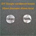 Atacado 20 pçs/lote google papelão lente biconvexa lentes 25mm 3d 45mm lente focal lente vr