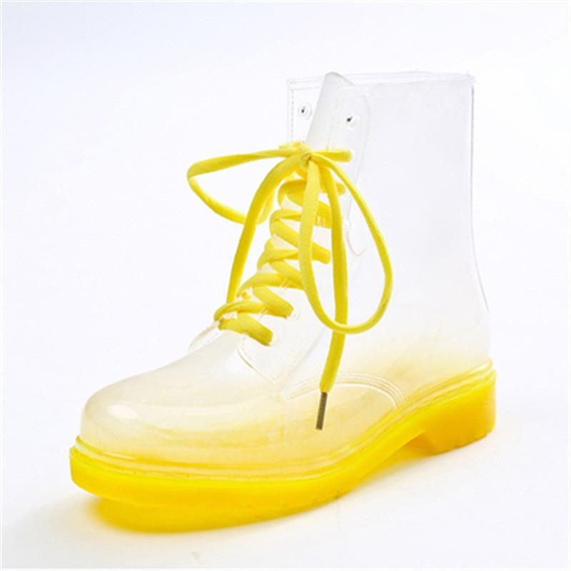 Summer fashion jelly tie transparent Martin rain boots rain boots women short tube non-slip shoes