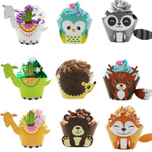 12pcs/lot Woodland Animal Cupcake Wrapper Cake Topper Kids Birthday Party Decorations Baby Shower Supplies