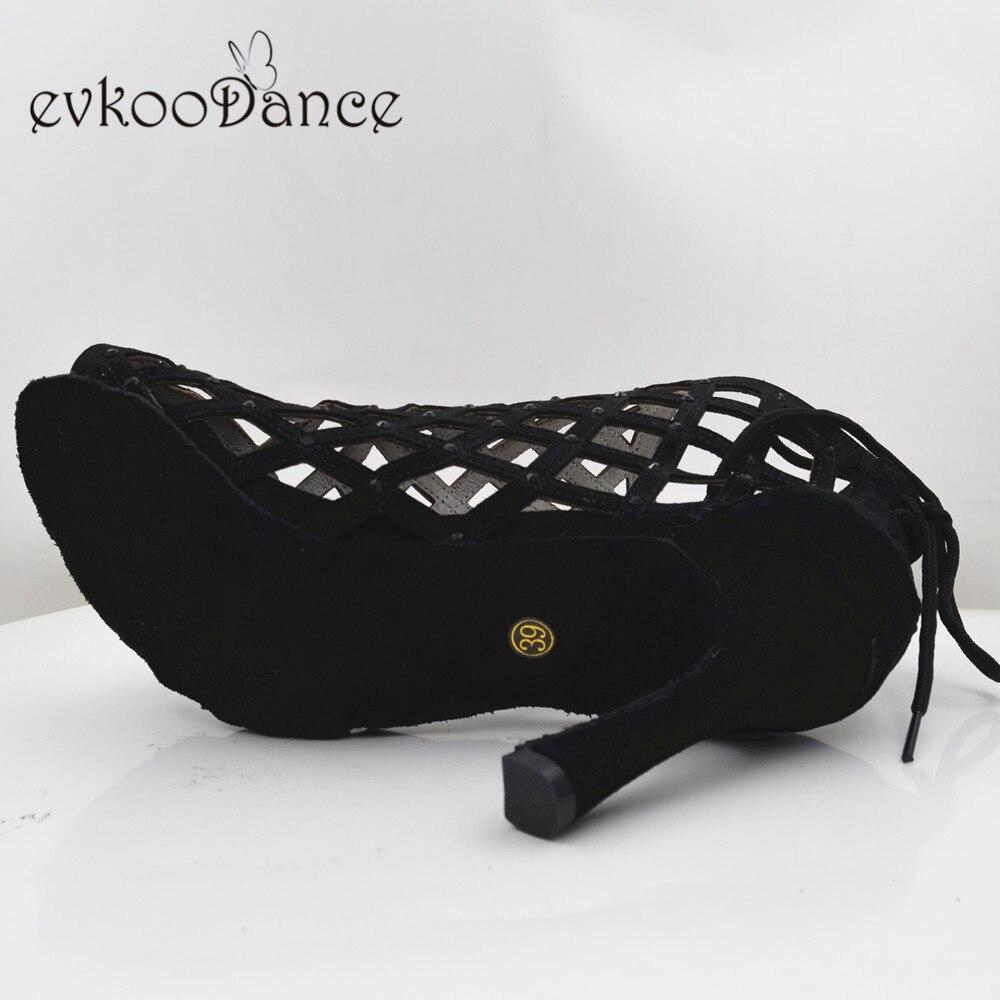 Evkoodance Zapatos De Baile Professiona noir dame chaussures De danse à talons hauts Salsa latine chaussures De danse De salle De bal pour les femmes Evkoo-551
