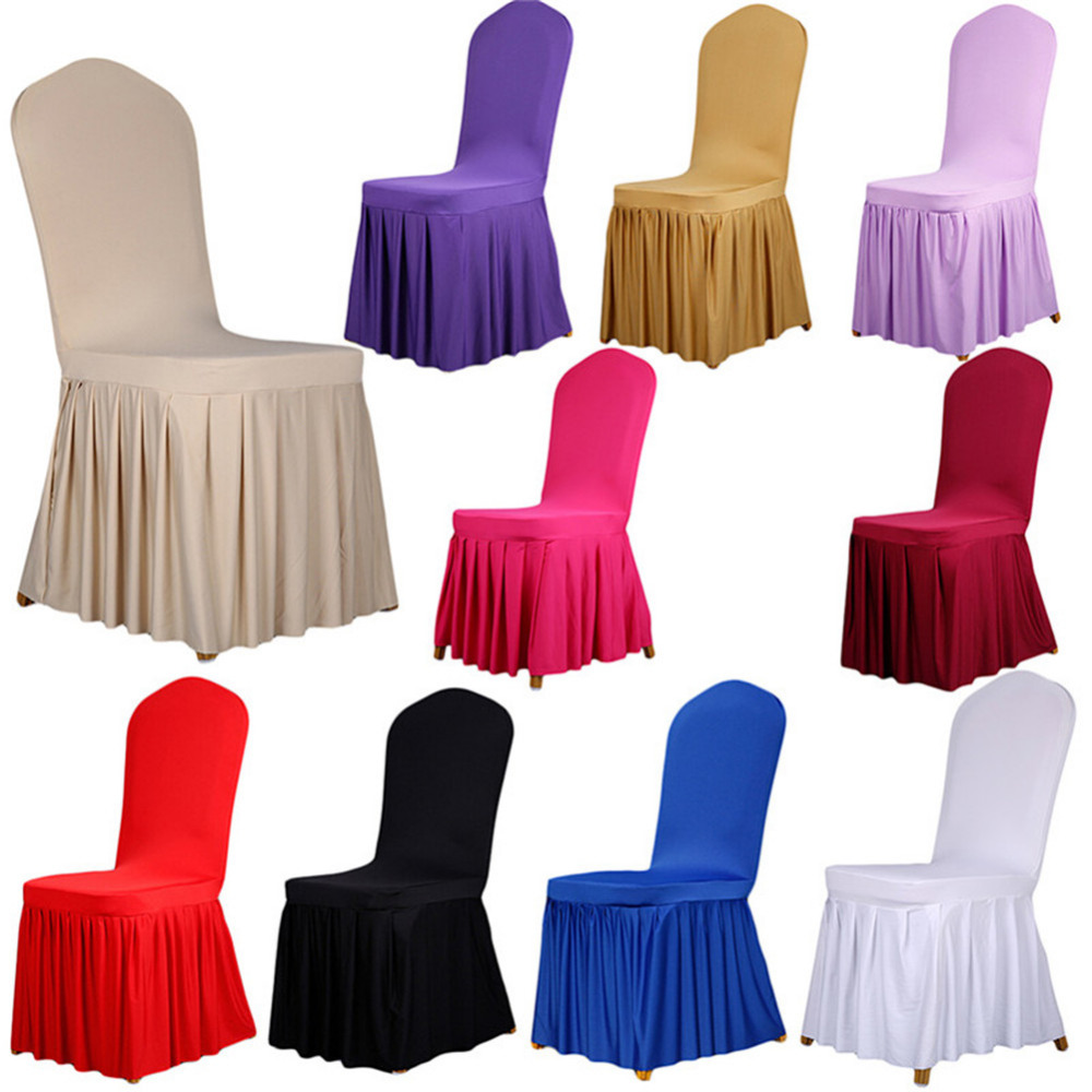 10 Colors Pleated Skirt Style Chair Covers Elastic Spandex ...