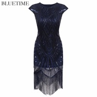 BLUETIME Great Gatsby Dress Women Tassel Sequined Blue Party Dresses Ladies Summer Bodycon 1920s Retro Vintage