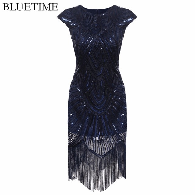 Female Great Gatsby Dress Women Tassel Sequined Gown Party Fashion Lady Costume Sexy Bodycon 1920s Retro Vintage Sundress Femme