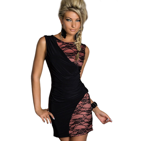 LA17849 Drop Shipping Cheap Price Summer Bodycon Dress Price Black Lace and Pink Patchwork Sleeveless Sexy Slim Lace Dress