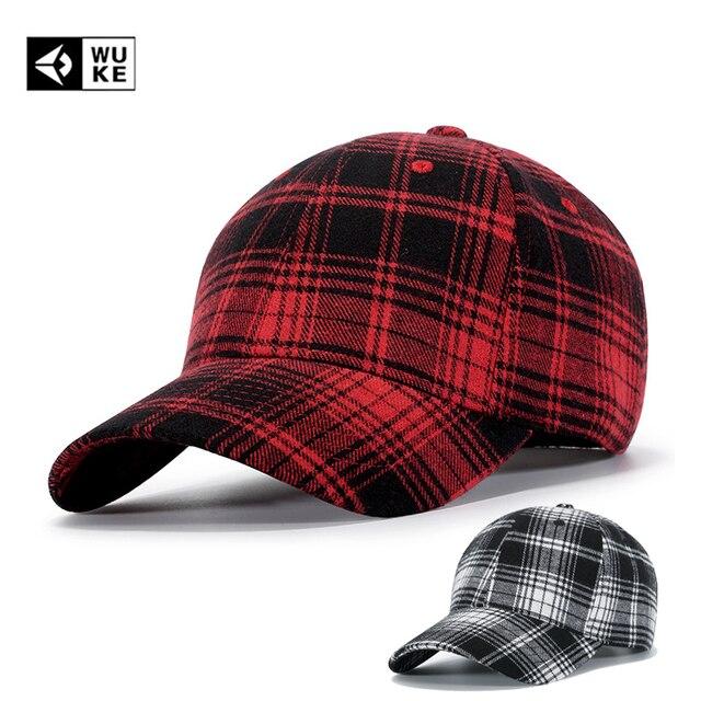 f8d1121664a49 WUKE Brand Cotton Plaid Baseball Caps Casual Bones Mosculino Hip Hop Hats  Men Women Red Snapback Hats Adjustable Casquette Caps