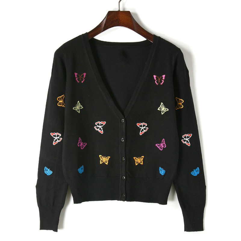 Embroidery 4 Fashion V Style white Black New neck Autumn Sweater Colors Knitwear red Long Spring Women green Cardigan Knitting Slim Sleeve 80wqxZ4