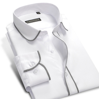 2016 Mens Long Sleeve Slim Fit Black White Plaid Edge Dress Shirt 100 Cotton No Iron